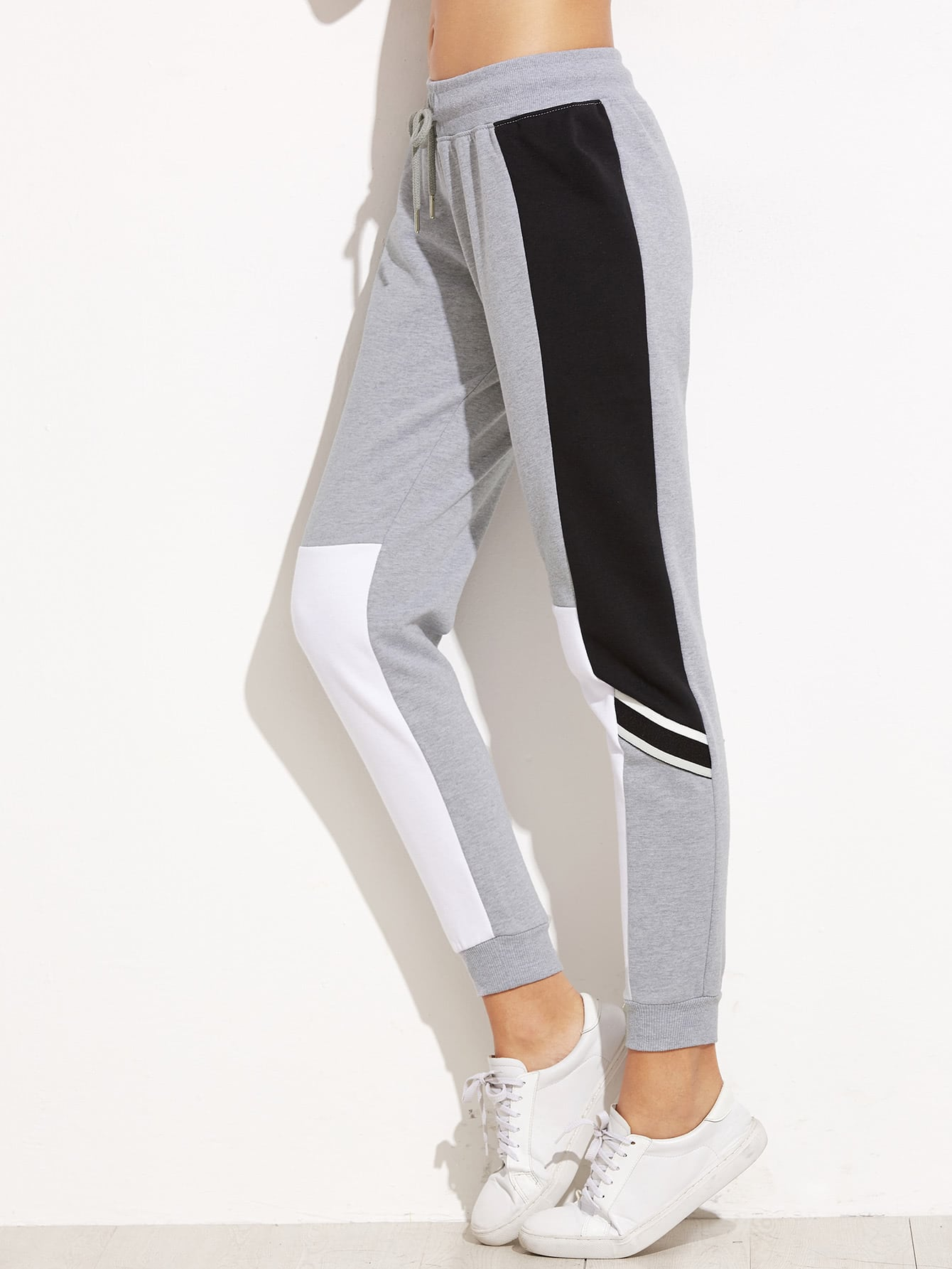 Image of Grey Color Block Drawstring Waist Casual Pants