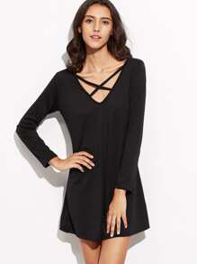 Criss Cross Front Shift Dress