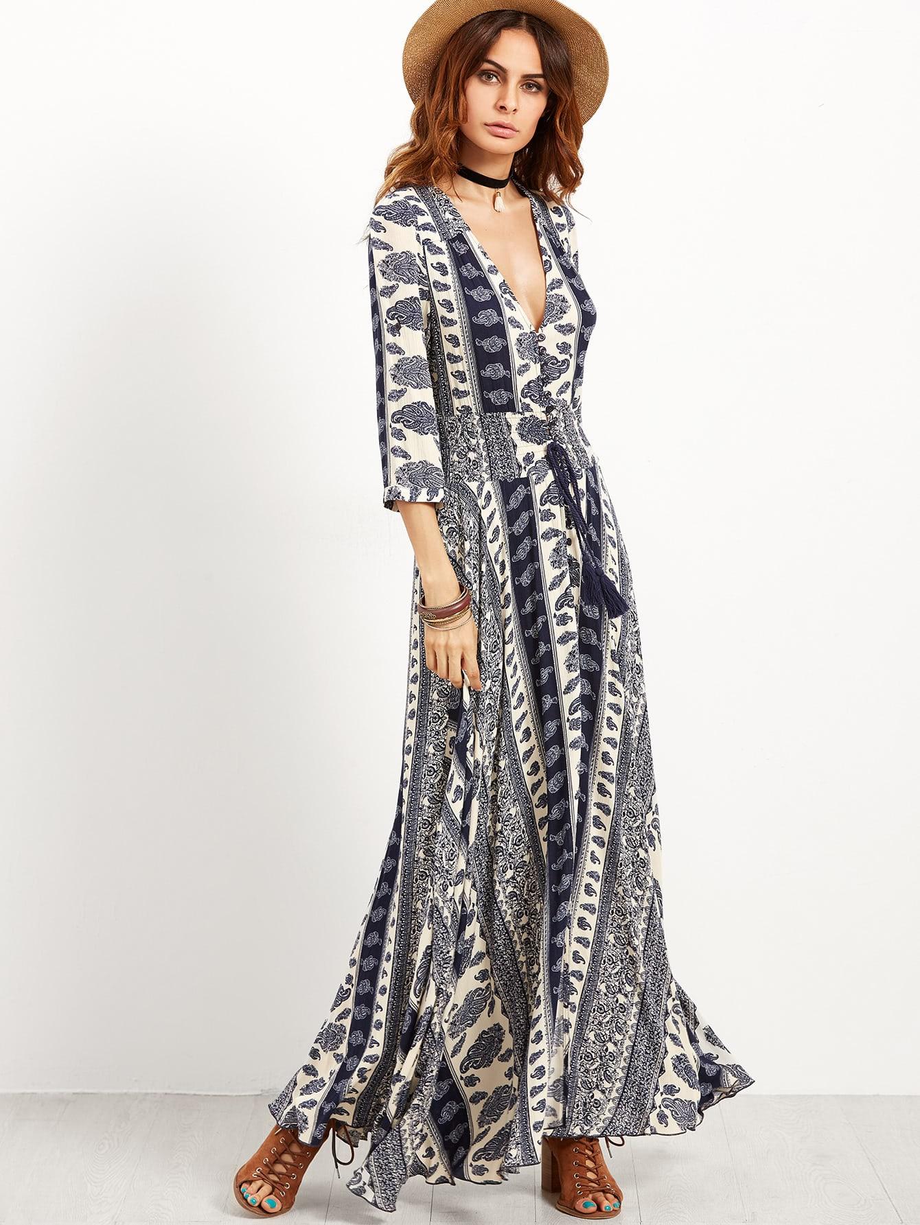 Фото Vintage Print Deep V Neck Drawstring Lace Insert Dress. Купить с доставкой
