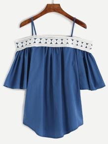 Blue Cold Shoulder Contrast Crochet Split Back Top
