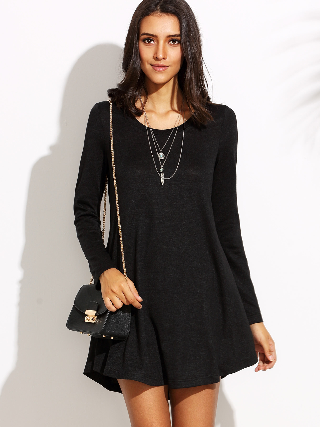 Fit And Flare Tee Dress zip back fit and flare splicing dress