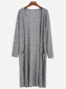 Grey Marled Knit Long Cardigan With Pocket