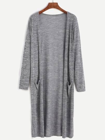 Grey Marled Knit Long Cardigan With Pocket