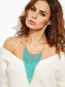 Vintage Turquoise Beaded Long Fringe Statement Necklace