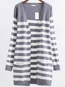 Grey Striped Ribbed Trim Open Front Long Cardigan