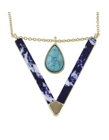 Blue Turquoise Triangle Pendant Necklace