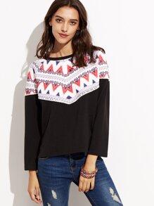 Black Contrast Tribal Print Ribbed Sweatshirt