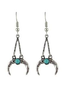 Antique Silver Vintage Design Moon Shape Long Pendant Earrings