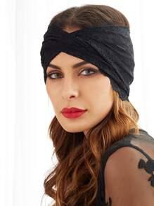 Black Lace Twist Headband