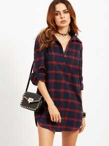 Navy Plaid Roll Tab Sleeve Half Placket Shirt Dress