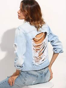 Blue Bottons Ripped Back Denim Jacket
