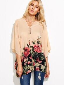 Apricot Flower Print V Neck Button Chiffon Blouse
