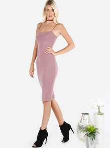 Elastic Strap Wool Midi Dress MAUVE