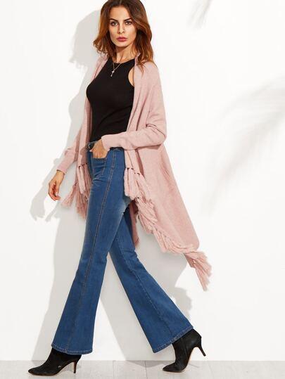 Tassel Hem Asymmetrical Open Front Sweater