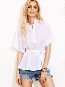 White Stand Collar Self Tie Blouse