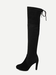 Black Faux Suede Tie Back Knee Boots