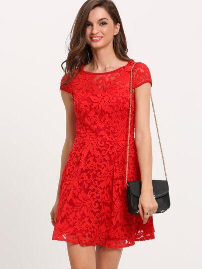 Red Applique Mesh A Line Dress