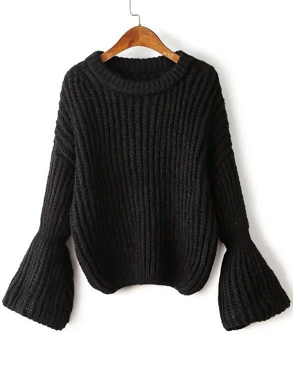 Drop Shoulder Bell Sleeve Oversized Sweater sweater160824206