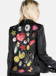 Faux Leather Back Patched Moto Jacket BLACK