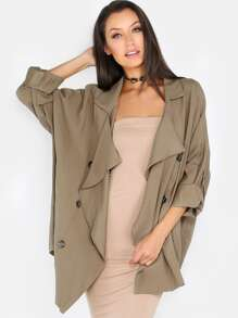 Lightweight Double Breast Trench Coat OLIVE