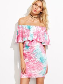 Multicolor Print Off The Shoulder Ruffle Bodycon Dress