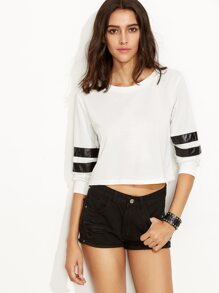 White Varsity Striped Crop Sweatshirt