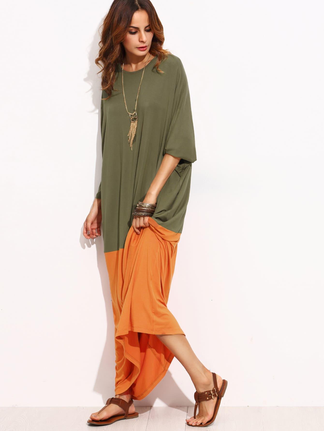 Contrast Kaftan Floor Length Dress