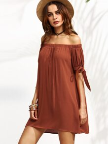 Brown Off The Shoulder Bow Tie Cuff Shift Dress