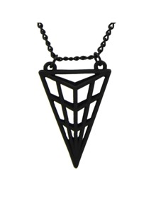 Black Triangle Pendant Long Necklace