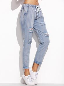 Blue Ripped Drawstring Jeans