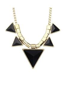 Black Stone Triangle Pendant Necklace