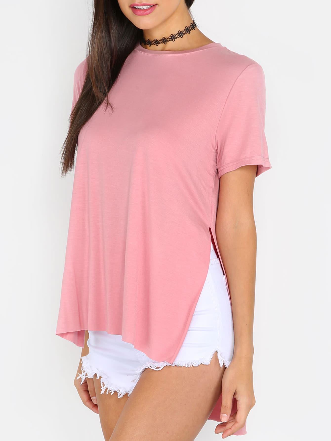 Фото Pink Split Side Short Sleeve High Low T-shirt. Купить с доставкой