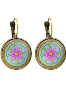 Bronze Ethnic Flower Plain Round Hoop Earrings For Women