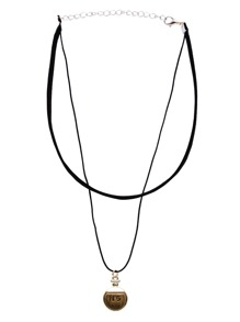 Two-Layer Coin Pendant Choker Necklace