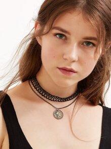 Black Vintage Coin Pendant Lace Choker Necklace