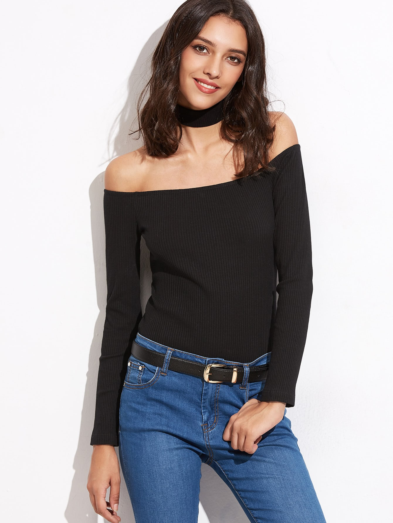Black Off The Shoulder Ribbed T-shirt With Choker tee160829702