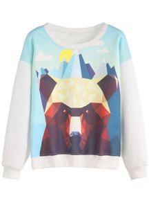 White Geo Bear Print Sweatshirt