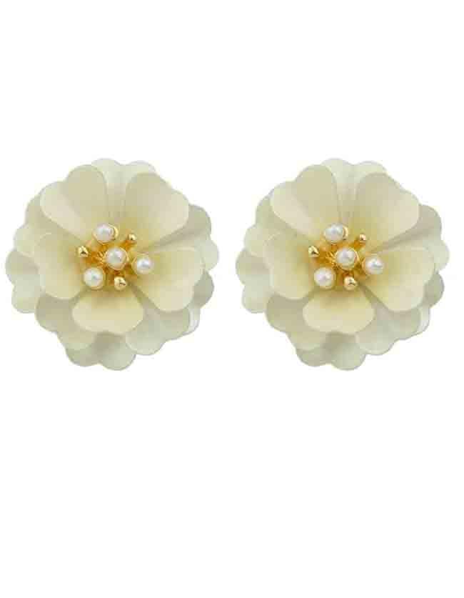 White Enamel Pearl Flower Stud Earrings