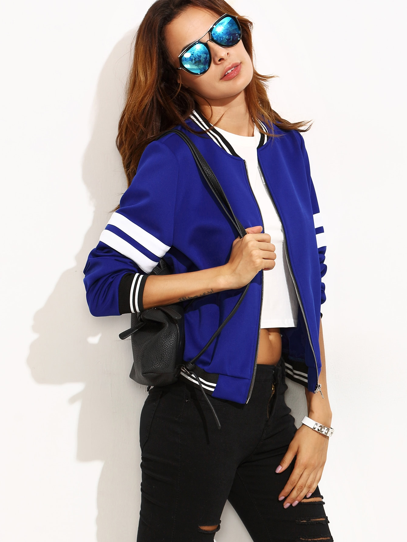 Contrast Trim Varsity Baseball Jacket стойка для клавишных ultimate js mps1
