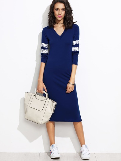 V Cut Varsity Striped Jersey Sheath Dress