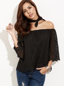 Black Eyelet Embroidered Off The Shoulder Top With Neck Tie