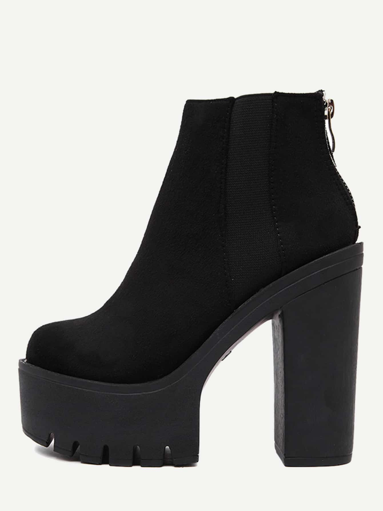 Black Suede Zipper Back Ankle Boots shoes160818803