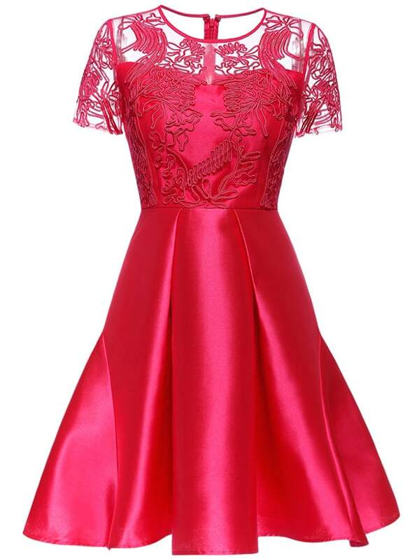 Red Gauze Disc Flowers A-Line Dress, null