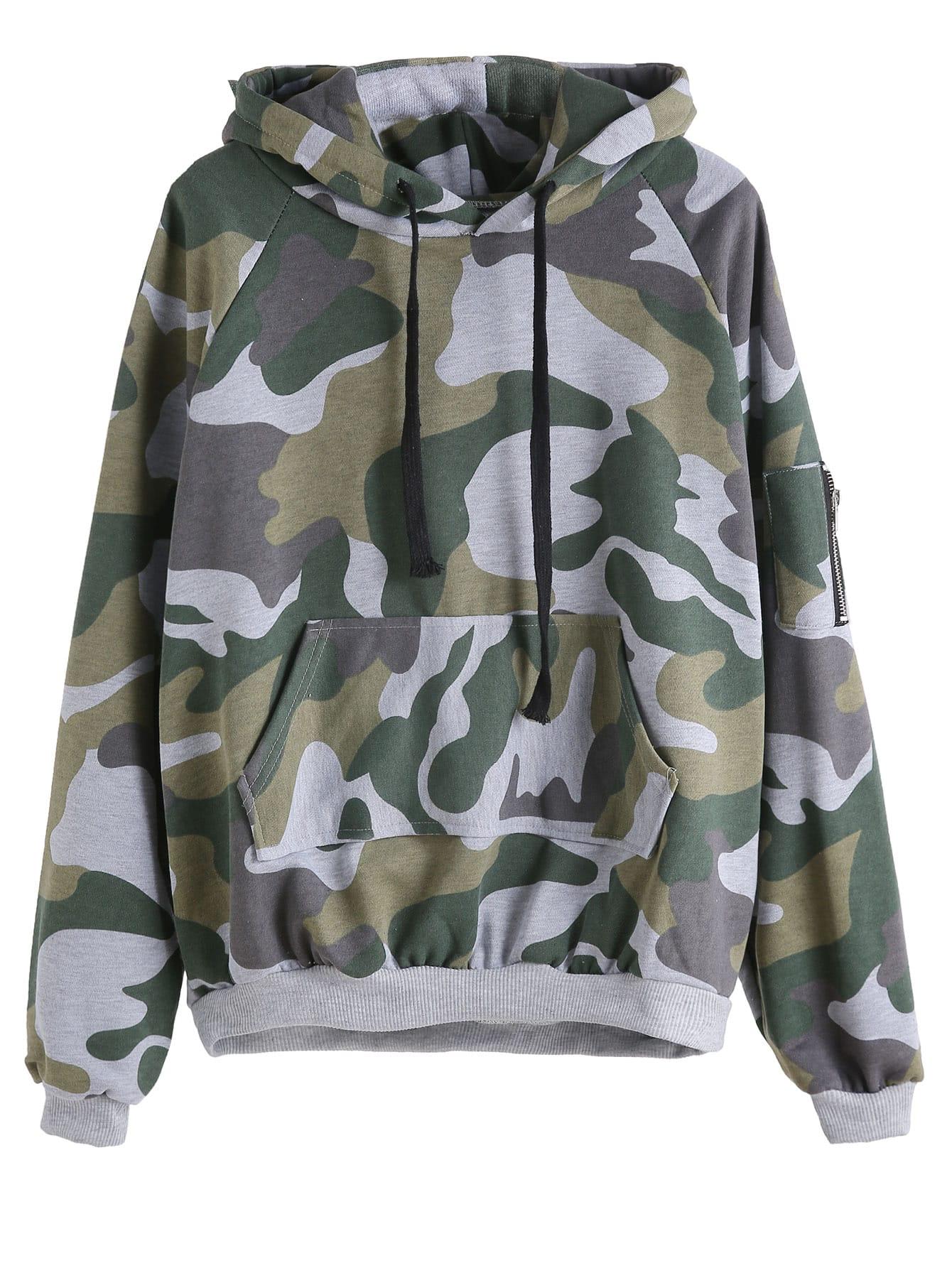 Фото Camo Print Zip Hooded Drawstring Sweatshirt With Pocket. Купить с доставкой