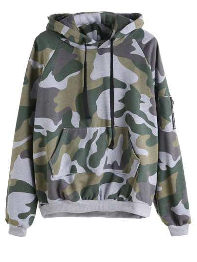 Camo Print Zip Hooded Drawstring Sweatshirt With Pocket