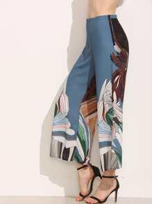 Multicolor Crane Print Wide Leg Pants