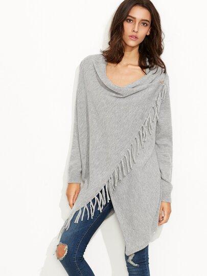 Grey Fringe Trim Drape Collar Wrap Sweater Coat -SheIn(Sheinside)