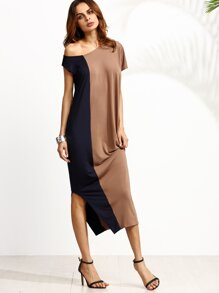 Color Block One Shoulder Side Split Dress