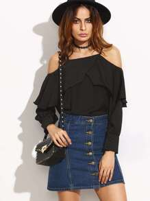 Black Cold Shoulder Ruffle Layered Top