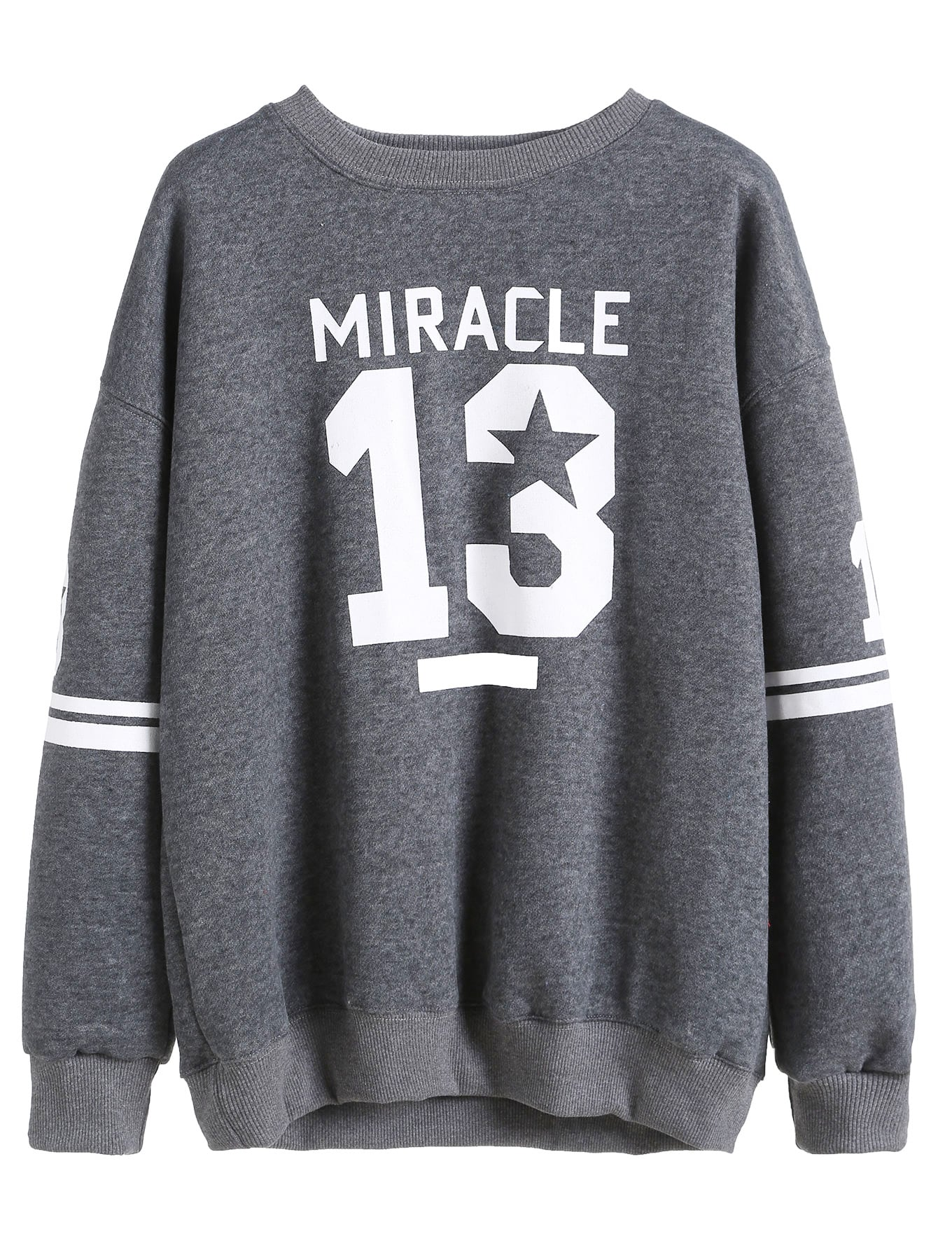 Grey Varsity Print Drop Shoulder Sweatshirt drop shoulder frill hem batwing sweatshirt